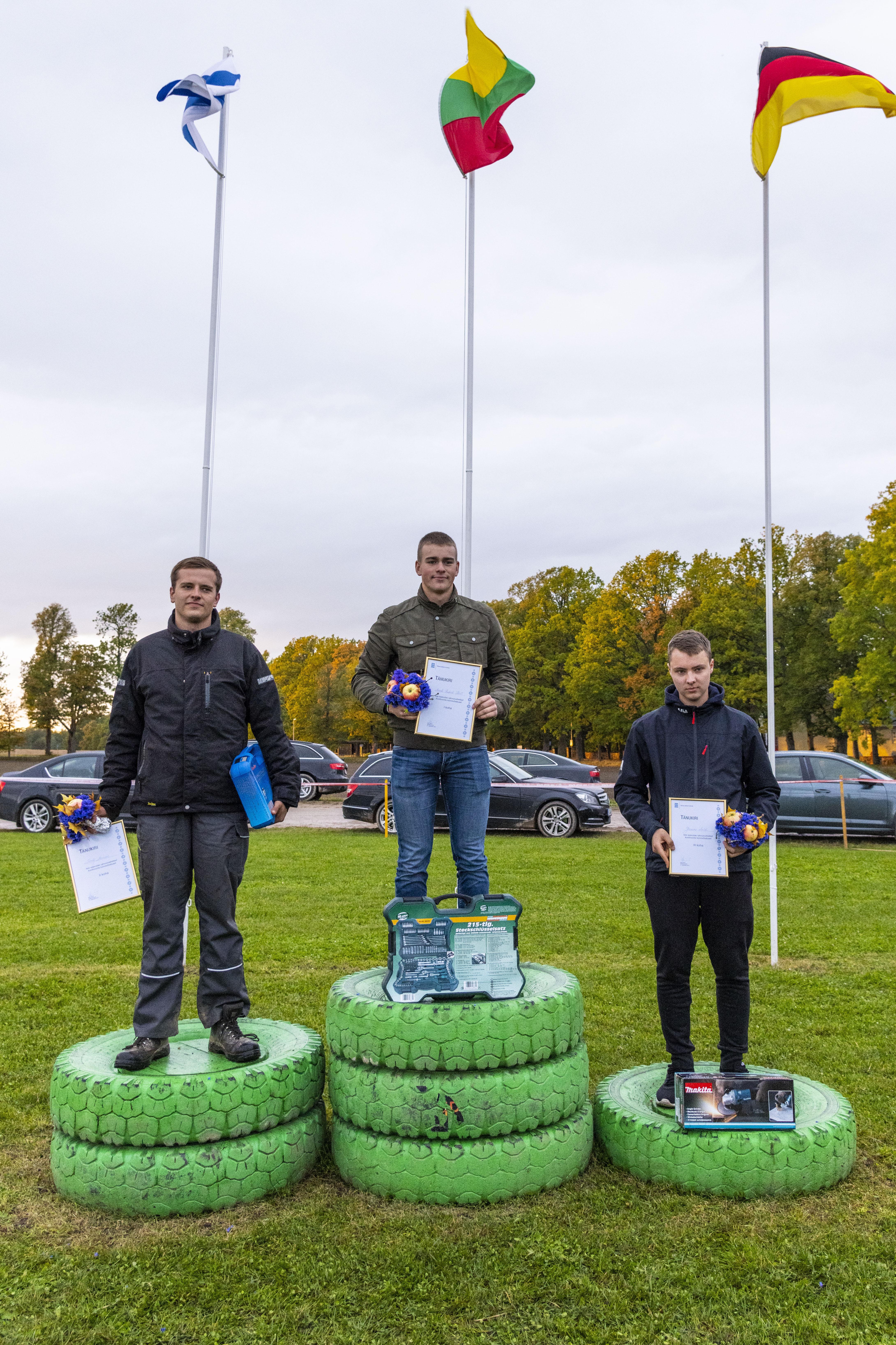 Künnivõistluse üldarvestuse esikolmik: võitja, Olustvere TMK vilistlane Mark-Hubert Heil, teisel kohal Järvamaa Kutsehariduskeskuse õpilane Ralf Menne ning kolmandal kohal Olustvere TMK õpilane JoonasValk.